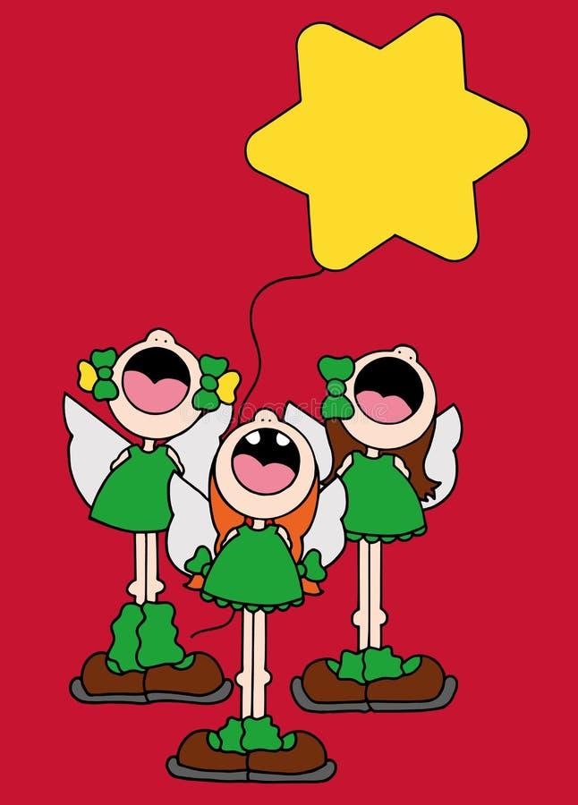 佩带天使的三个女孩的例证飞过唱和运载一个黄色星状气球 免版税库存图片