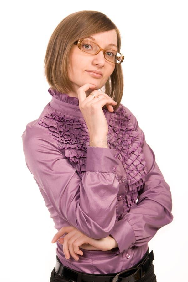 佩带妇女年轻人的眼镜 库存图片
