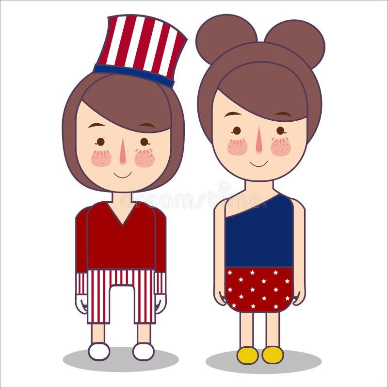 佩带庆祝美国美国爱国心7月四日服装条纹的女孩使用山姆大叔帽子传染媒介以图例解释者 皇族释放例证
