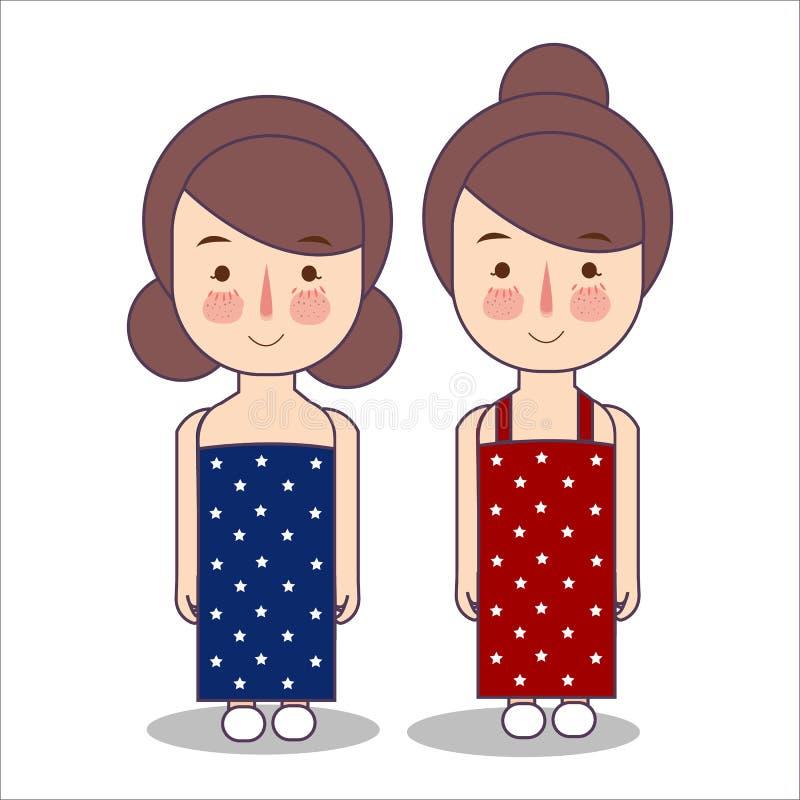 佩带庆祝美国美国爱国心7月四日服装条纹的女孩使用山姆大叔帽子传染媒介以图例解释者 向量例证