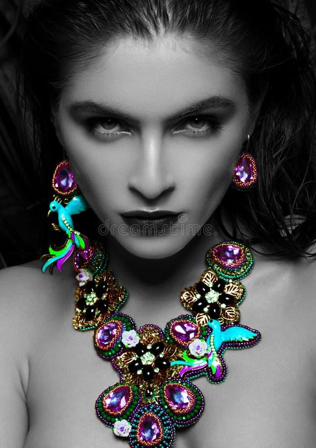 佩带异乎寻常的豪华首饰的美丽的妇女 免版税库存照片