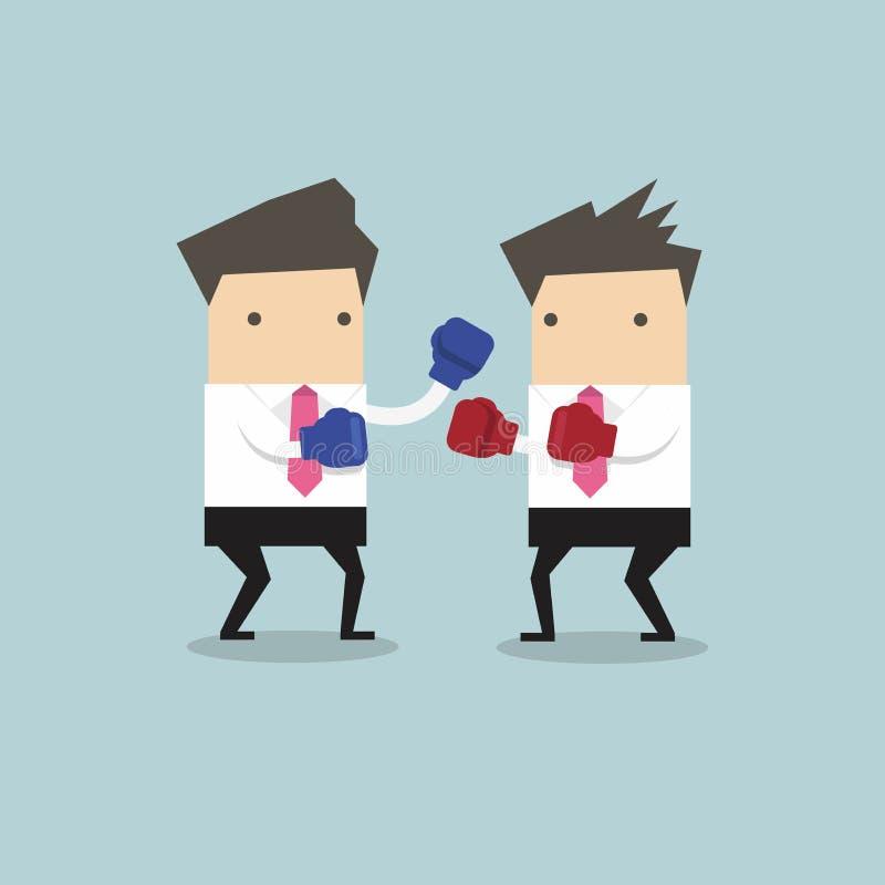 佩带拳击手套战斗的两个商人 向量例证