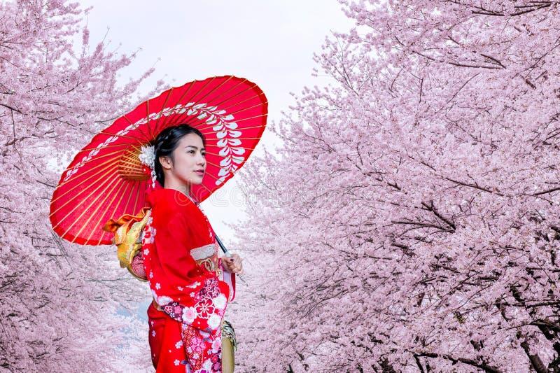 佩带日本传统和服和樱花在春天,日本的亚裔妇女 免版税图库摄影