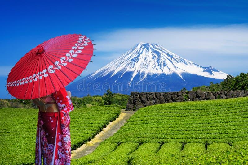 佩带日本传统和服在富士山和绿茶种植园的亚裔妇女在静冈,日本 图库摄影