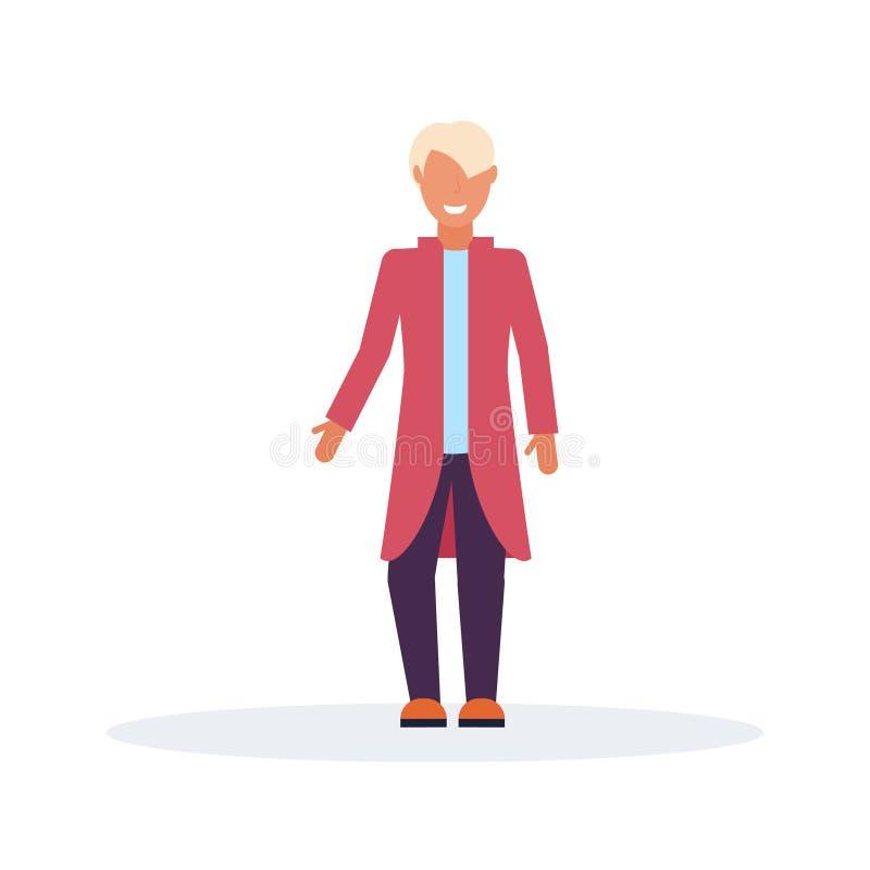佩带时尚衣裳男性卡通人物全长的偶然人身分姿势平展被隔绝 皇族释放例证