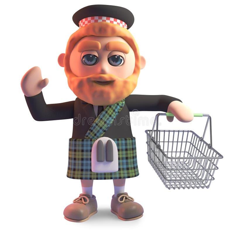 佩带有一个空的手提篮的苏格兰男用短裙苏格兰语人,3d例证 库存例证