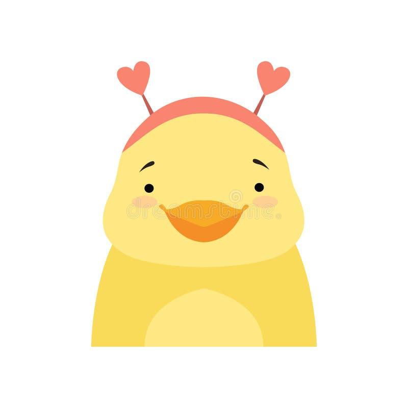 黄色片和动物干_佩带有心形耳朵的黄色鸭子一个头饰带,逗人喜爱的动画片动物字符具体