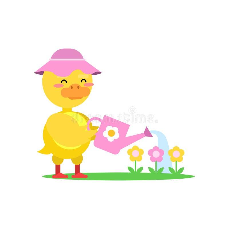 佩带桃红色帽子浇灌的花的滑稽的矮小的黄色鸭子 向量例证