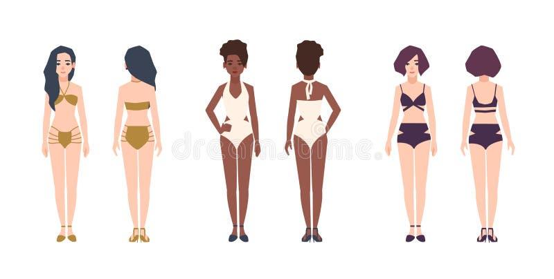 佩带游泳衣的捆绑多种族妇女 套俏丽的女孩在比基尼泳装和泳装穿戴了 女性动画片 库存例证