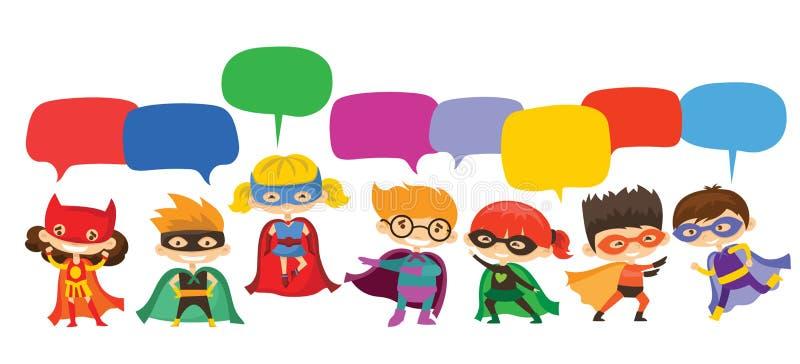 佩带漫画服装和讲话泡影的孩子超级英雄 皇族释放例证
