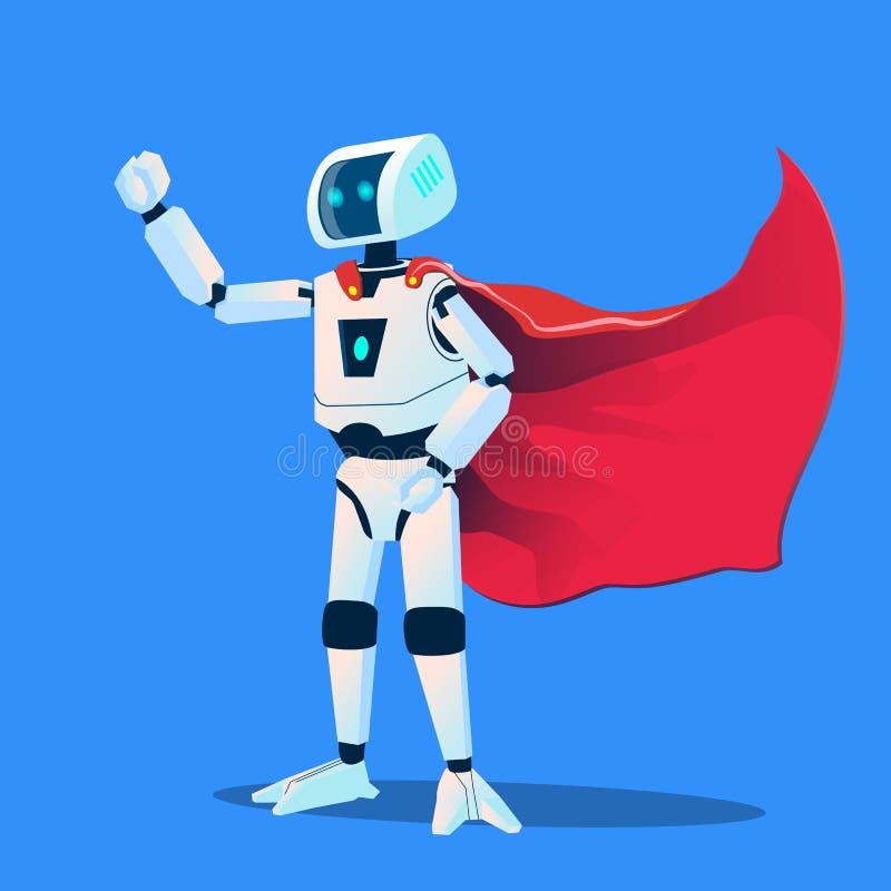 佩带特级英雄斗篷传染媒介的机器人 按钮查出的现有量例证推进s启动妇女 库存例证