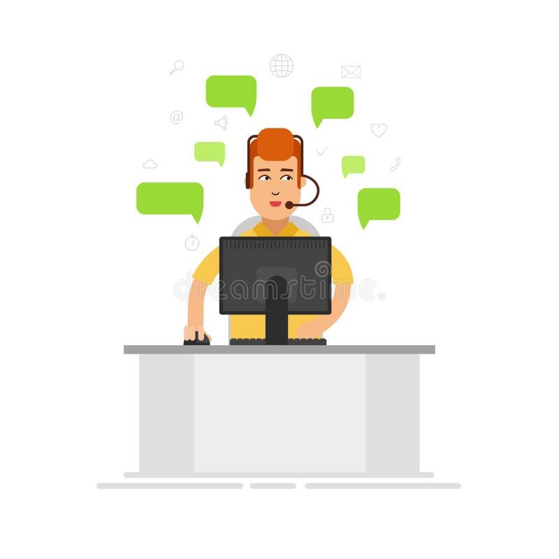 佩带耳机的客户服务代表在办公室 用户支持中心通过电话邮件操作员服务 皇族释放例证