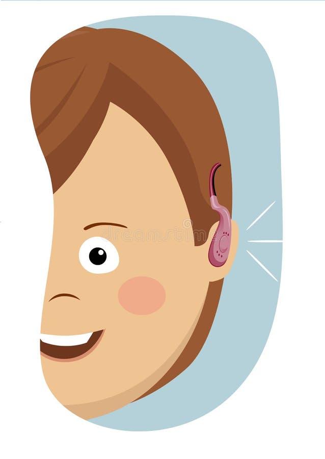 佩带聋援助的少妇半面孔画象 皇族释放例证