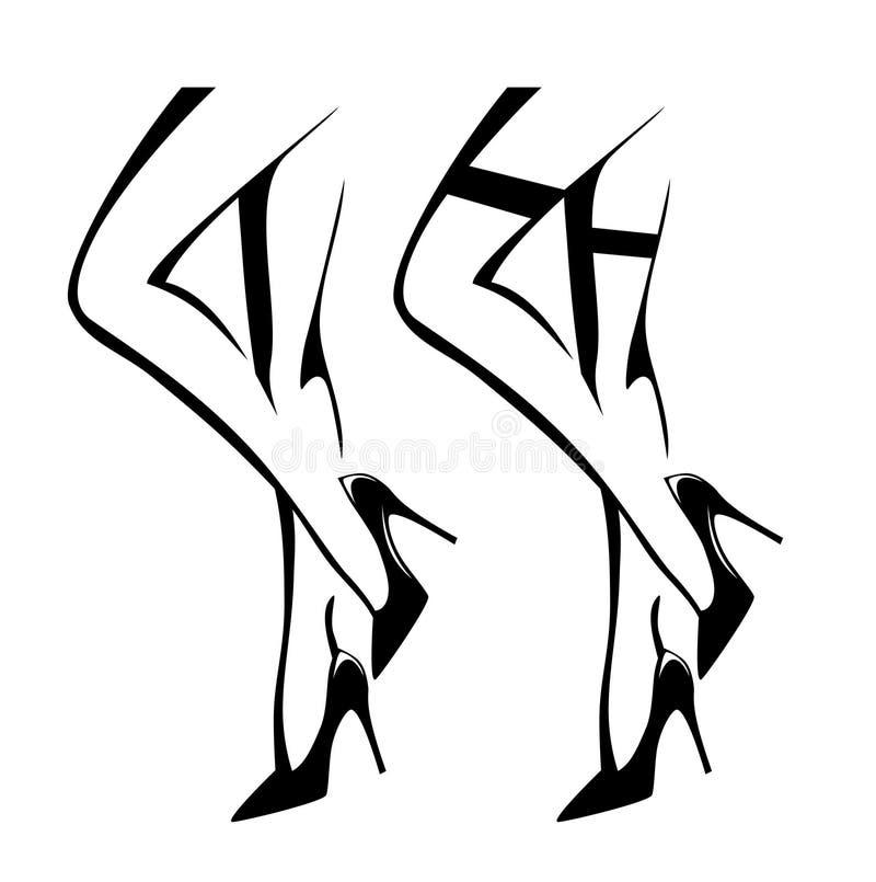 佩带脚跟和长袜的性感的妇女腿导航设计 库存例证