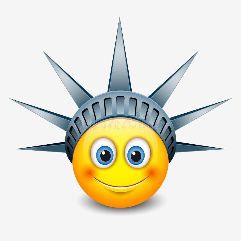 佩带自由女神像冠-纽约的逗人喜爱的意思号- emoji -面带笑容-导航例证 库存例证