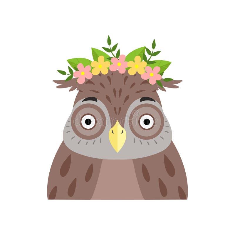佩带花的花圈猫头鹰,在白色背景的逗人喜爱的动画片鸟字符具体化传染媒介例证 库存例证