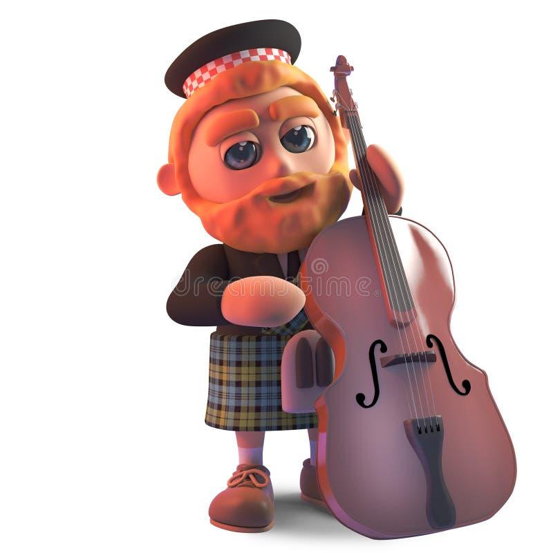 佩带苏格兰人的动画片苏格兰男用短裙播放一个低音提琴,3d例证 向量例证