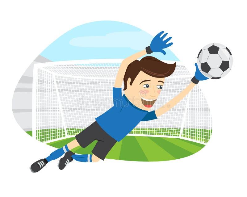 佩带蓝色T恤杉jum的滑稽的足球足球运动员守门员 库存例证