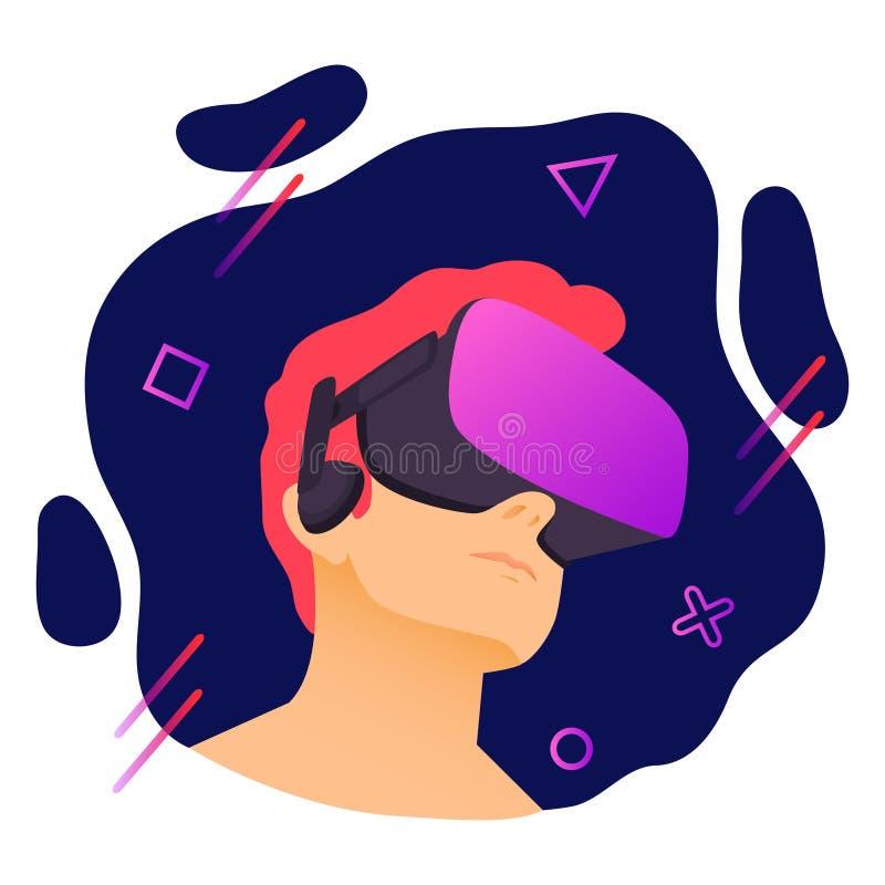 佩带虚拟现实耳机的人的传染媒介例证 与几何元素的摘要VR现代例证 库存例证