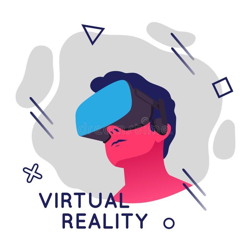 佩带虚拟现实耳机的人的传染媒介例证 与几何元素的摘要VR现代例证 向量例证