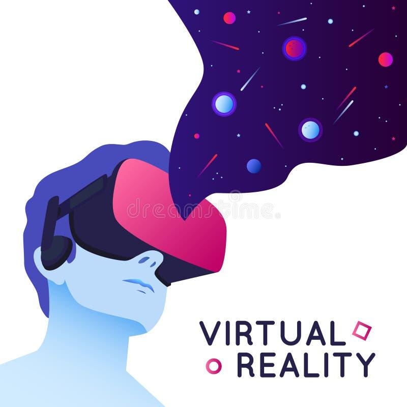 佩带虚拟现实耳机的人的传染媒介例证 与空间元素的摘要VR现代例证 皇族释放例证