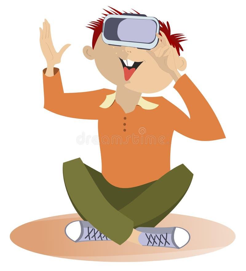 佩带虚拟现实风镜的年轻人隔绝了例证 向量例证