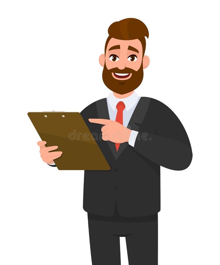 佩带衣服藏品剪贴板和指向手指的年轻商人 在手中保留文件垫的人 r 皇族释放例证