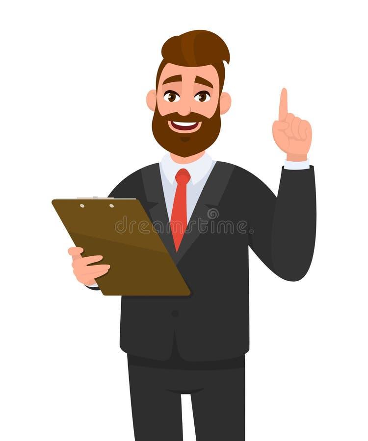 佩带衣服藏品剪贴板和指向食指的年轻商人  在手中保留文件垫的人 向量例证