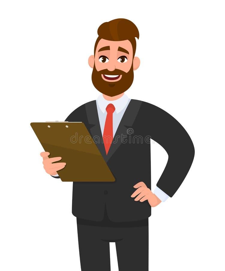 佩带衣服藏品剪贴板和摆在臀部的年轻商人手 在手中保留文件垫的人 r 库存例证