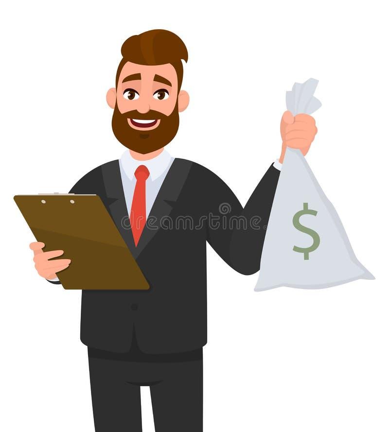 佩带衣服藏品剪贴板和显示金钱,现金,货币的年轻商人注意与美元的符号的袋子 皇族释放例证