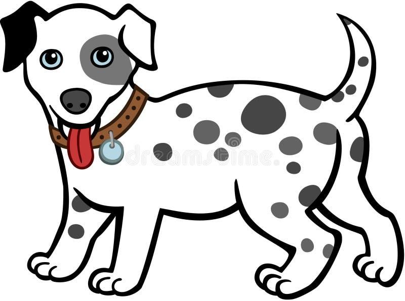 佩带衣领的达尔马希亚小狗 库存例证