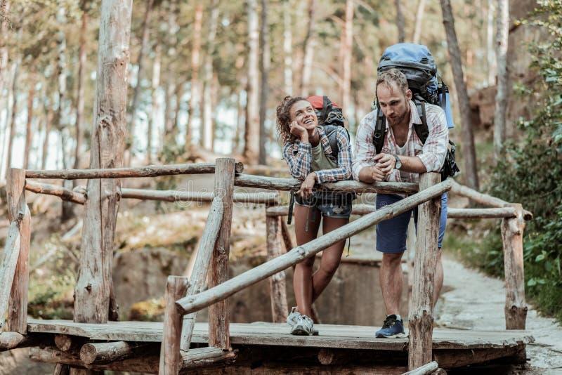 佩带重的背包的爱恋的夫妇感到快乐观看天空在森林里 库存照片