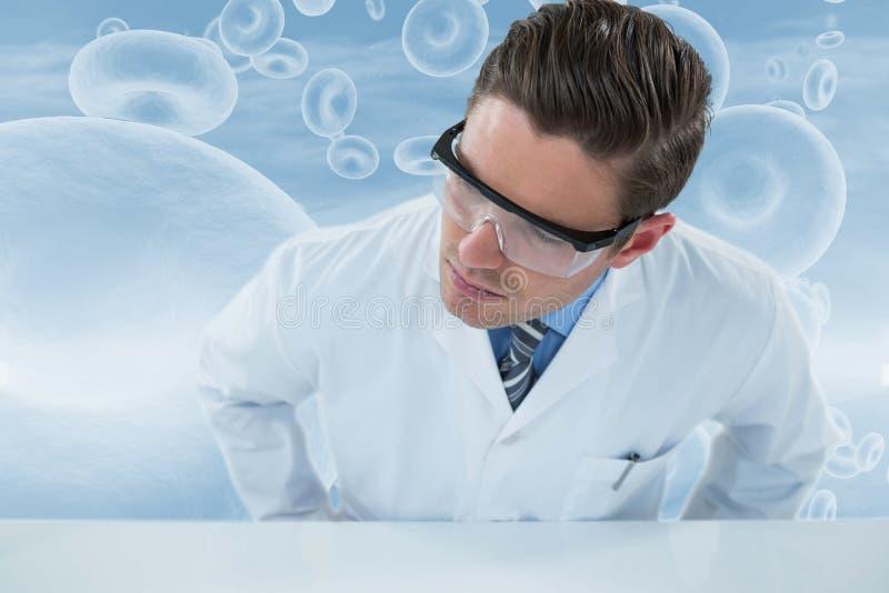 佩带防护eyewear 3d的医生的综合图象 皇族释放例证