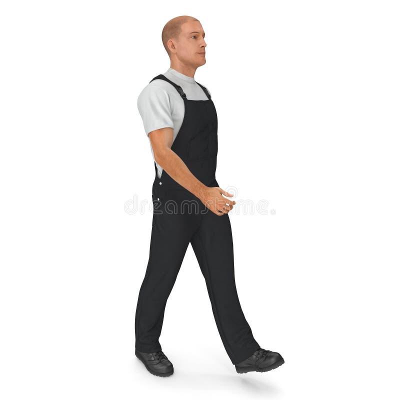佩带黑总之走的姿势的建筑工人 3D例证,隔绝,在白色 向量例证