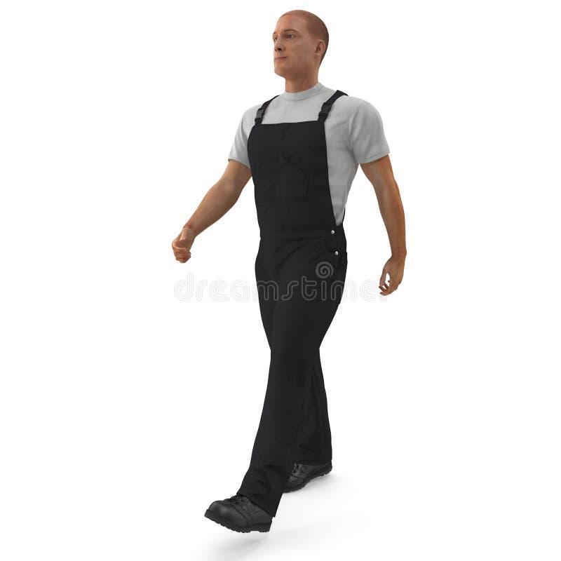 佩带黑总之走的姿势的建筑工人 3D例证,隔绝,在白色 库存例证