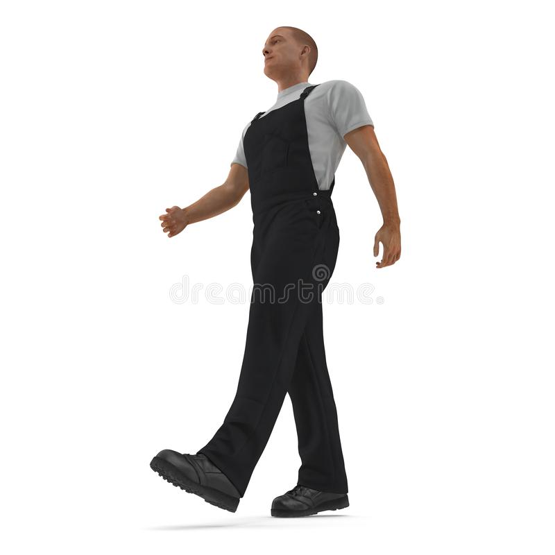 佩带黑总之走的姿势的建筑工人 3D例证,隔绝,在白色 皇族释放例证