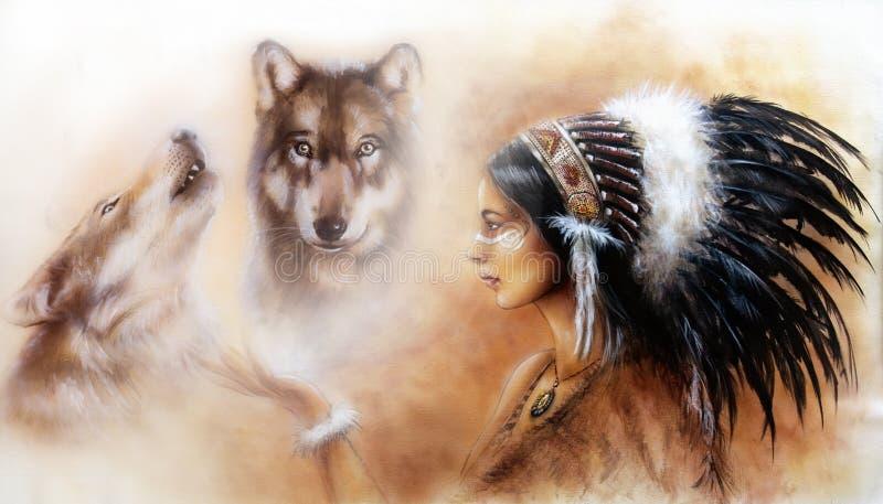 佩带去的一名年轻印地安妇女的美好的气刷绘画 库存图片