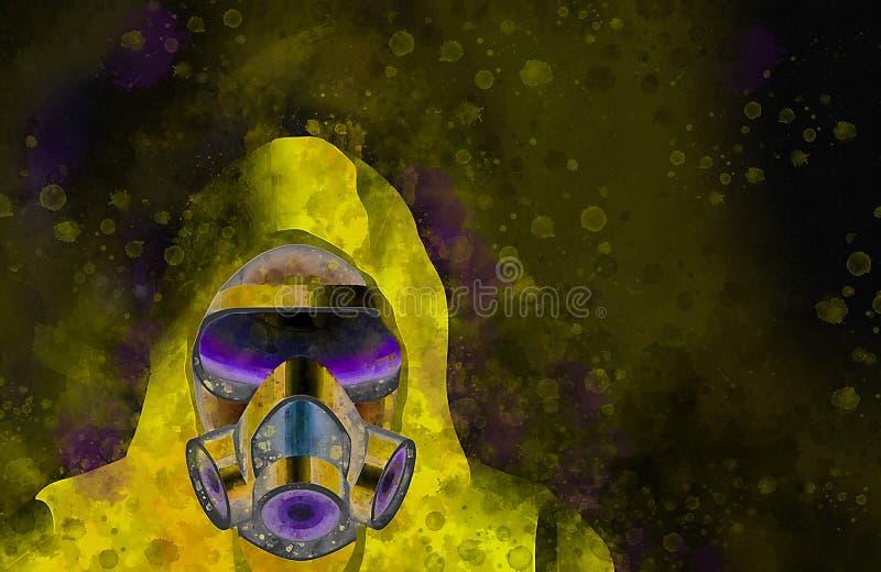 佩带黄色生物危害品衣服和气体Mas的一个人的水彩 库存例证