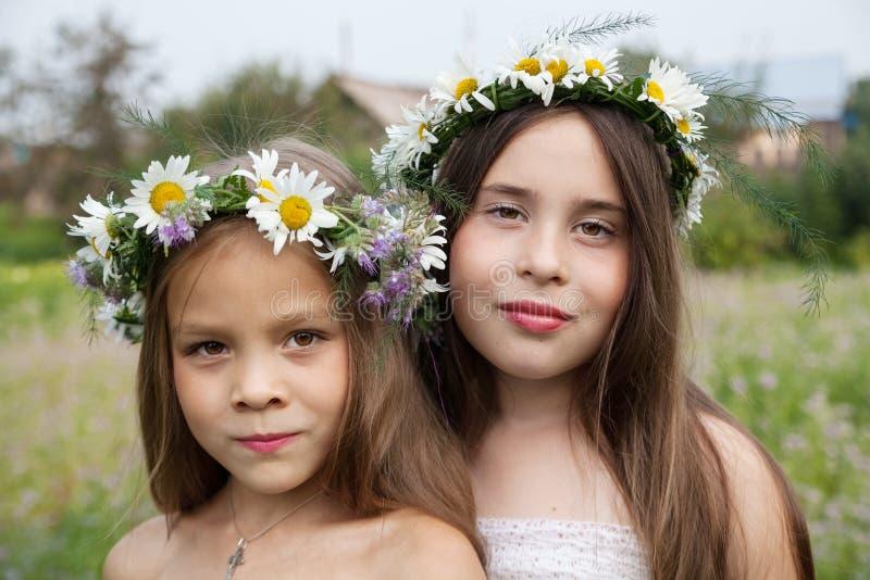 佩带camomiles的冠一个美丽的女孩的画象 免版税图库摄影
