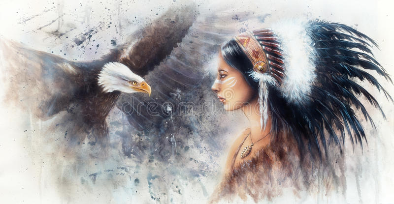 佩带g的一名年轻印地安妇女的美好的气刷绘画 库存例证