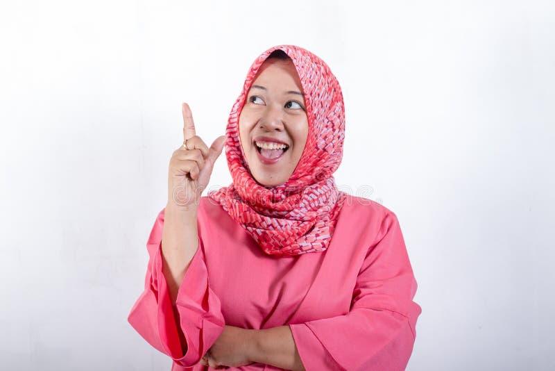 佩带hijab的亚裔回教女实业家 库存图片