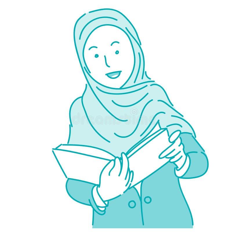 佩带hijab的回教妇女拿着书,动画片传染媒介例证 库存例证