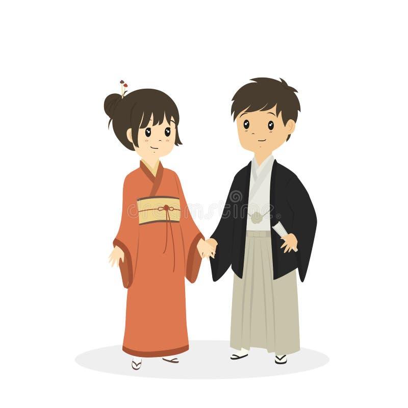 佩带Japnanese传统礼服传染媒介的逗人喜爱的夫妇 向量例证