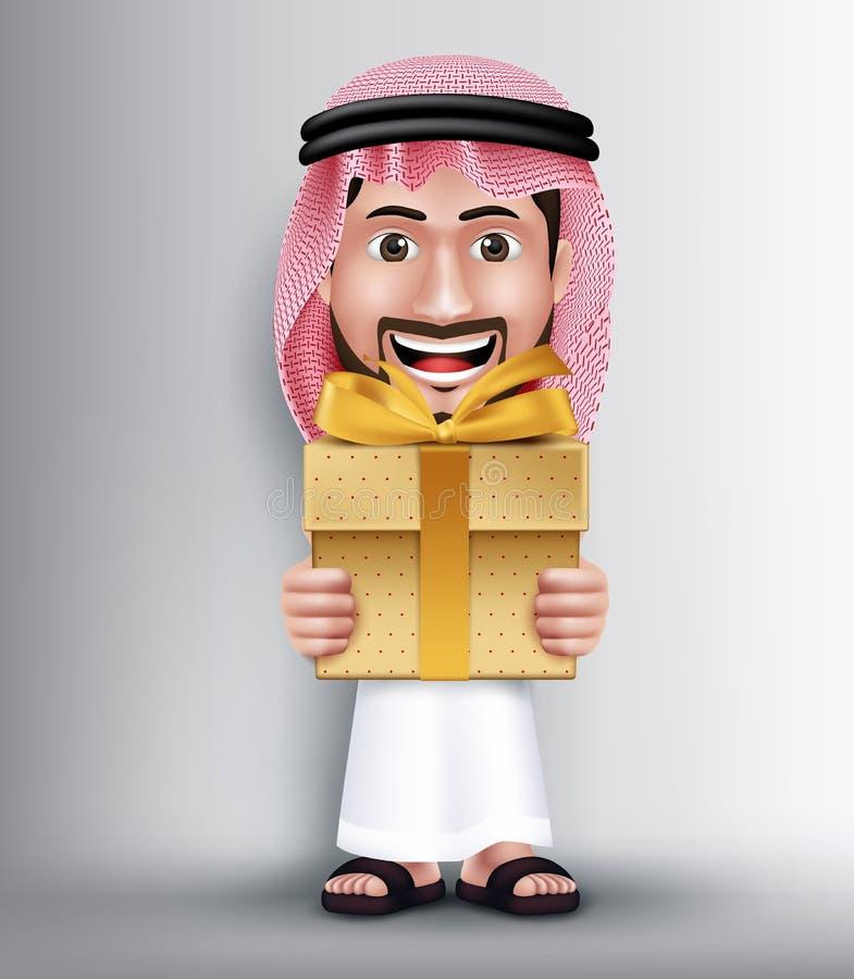 佩带Thobe的现实沙特阿拉伯人给金黄礼物 皇族释放例证
