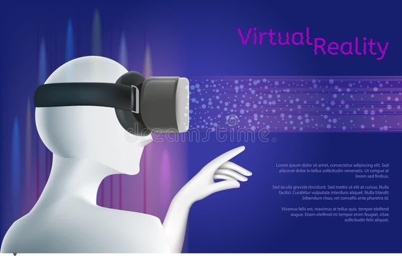 佩带VR耳机的人 与textarea的虚拟现实概念 向量例证