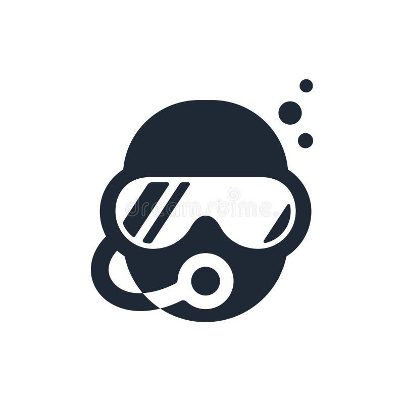 佩戴水肺的潜水商标 皇族释放例证