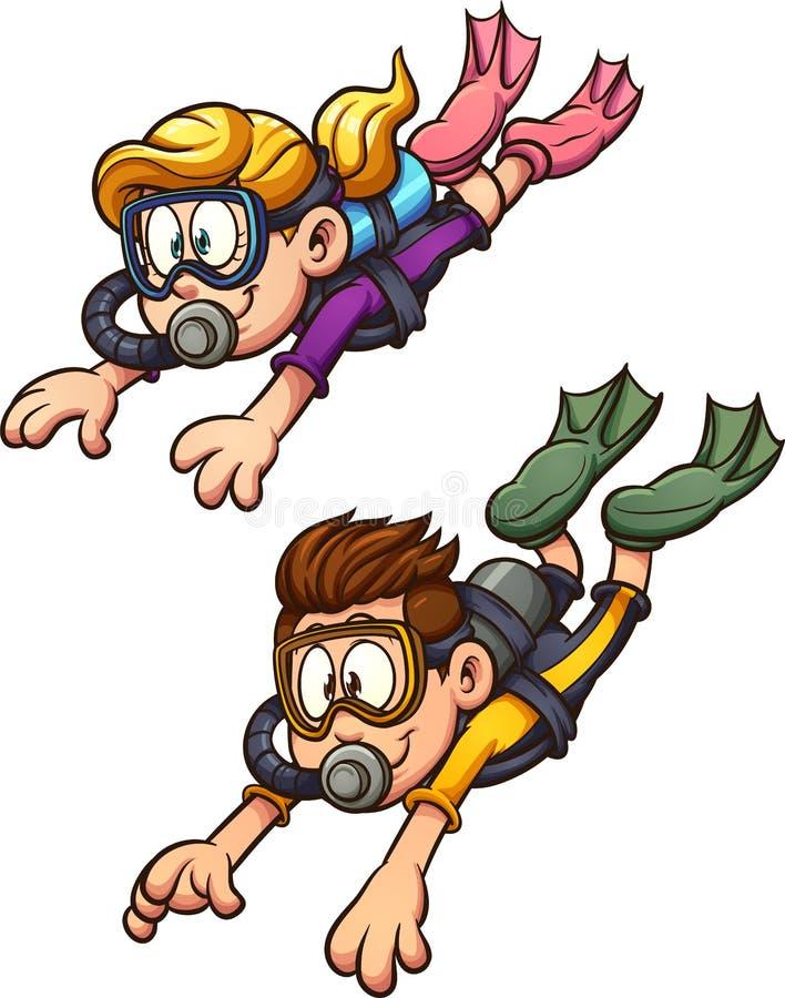 佩戴水肺的潜水男孩和女孩 库存例证
