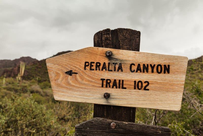 佩拉尔塔峡谷,美国的木标志 免版税库存图片