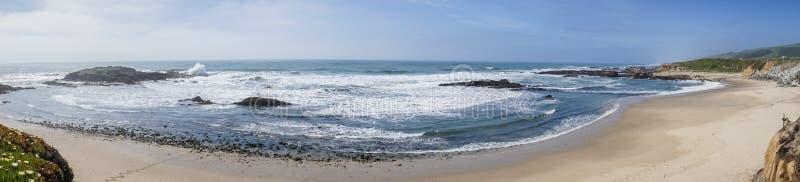 佩斯卡德罗国家海滩,太平洋海岸线,加利福尼亚全景  免版税库存照片
