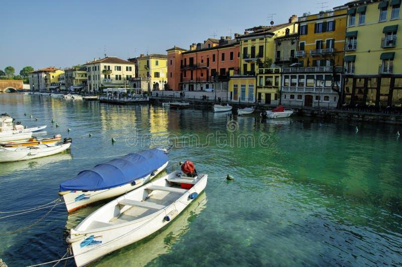 佩斯基耶拉德尔加尔达, Garda湖区,意大利 库存图片